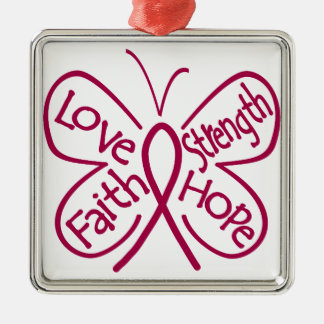 Brain Aneurysm Butterfly Inspiring Words Square Metal Christmas Ornament