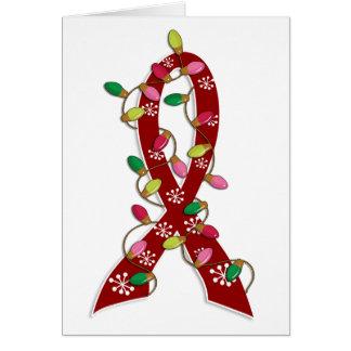Brain Aneurysm Christmas Lights Ribbon Card
