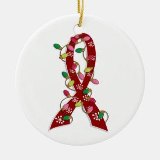 Brain Aneurysm Christmas Lights Ribbon Ceramic Ornament
