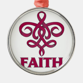 Brain Aneurysm Faith Fleur de Lis Ribbon Round Metal Christmas Ornament