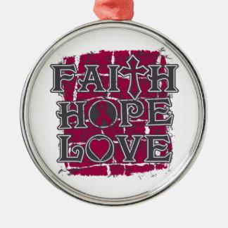 Brain Aneurysm Faith Hope Love Round Metal Christmas Ornament