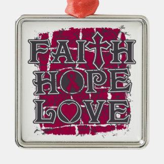 Brain Aneurysm Faith Hope Love Square Metal Christmas Ornament
