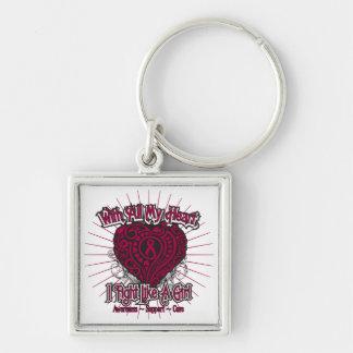 Brain Aneurysm Heart I Fight Like A Girl Keychain