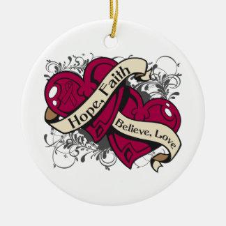 Brain Aneurysm Hope Faith Dual Hearts Double-Sided Ceramic Round Christmas Ornament