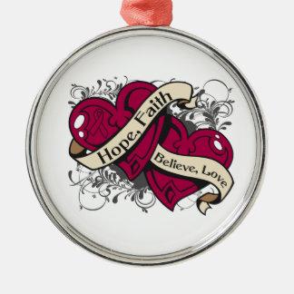 Brain Aneurysm Hope Faith Dual Hearts Round Metal Christmas Ornament