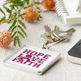 Brain Aneurysm Hope Love Faith Survivor Keychain
