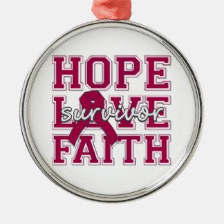 Brain Aneurysm Hope Love Faith Survivor Round Metal Christmas Ornament