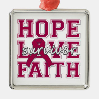 Brain Aneurysm Hope Love Faith Survivor Square Metal Christmas Ornament