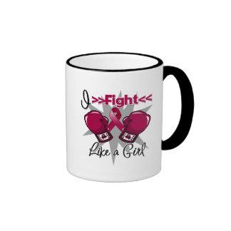 Brain Aneurysm I Fight Like a Girl With Gloves Ringer Coffee Mug
