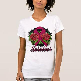 Brain Aneurysm Survivor Rose Grunge Tattoo Tee Shirt