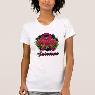 Brain Aneurysm Survivor Rose Grunge Tattoo Tshirt