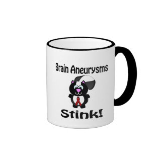 Brain Aneurysms Stink Skunk Awareness Design Ringer Coffee Mug