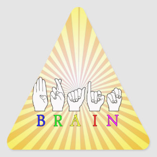 BRAIN ASL FINGERSPELLED NAME SIGN TRIANGLE STICKER