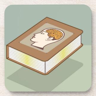 Brain book drink coaster