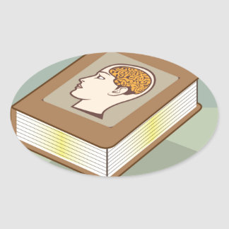 Brain book oval sticker