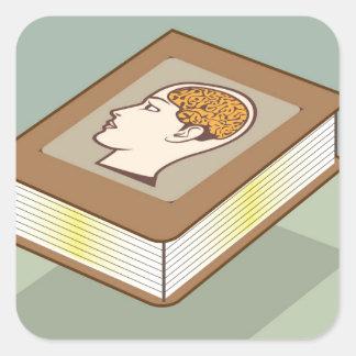 Brain book square sticker