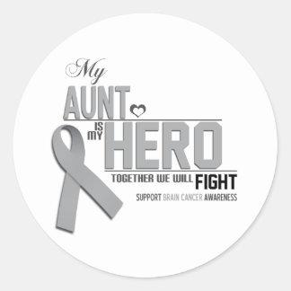 Brain Cancer Awareness: aunt Classic Round Sticker