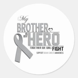 Brain Cancer Awareness: brother Classic Round Sticker