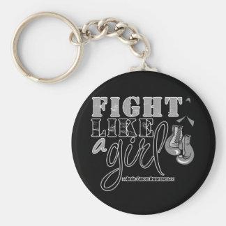 Brain Cancer Awareness Fight Like a Girl Basic Round Button Keychain