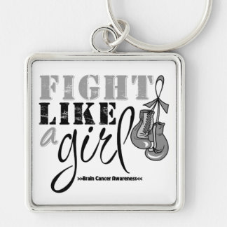 Brain Cancer Awareness Fight Like a Girl Silver-Colored Square Keychain