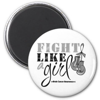Brain Cancer Awareness Fight Like a Girl 2 Inch Round Magnet