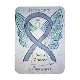 Brain Cancer Awareness Gray Ribbon Angel Magnet