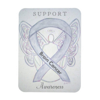 Brain Cancer Awareness Gray Ribbon Angel Magnets