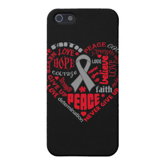 Brain Cancer Awareness Heart Words iPhone 5 Cover