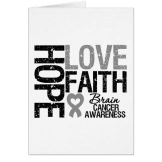 Brain Cancer Awareness Hope Love Faith Greeting Card