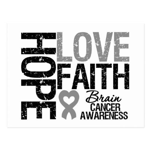 Brain Cancer Awareness Hope Love Faith Postcard