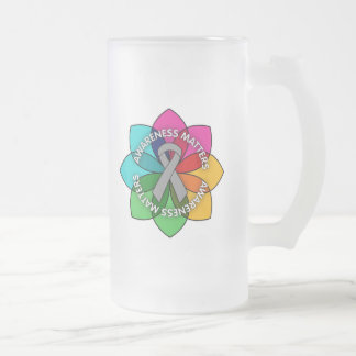 Brain Cancer Awareness Matters Petals 16 Oz Frosted Glass Beer Mug