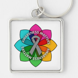 Brain Cancer Awareness Matters Petals Silver-Colored Square Keychain