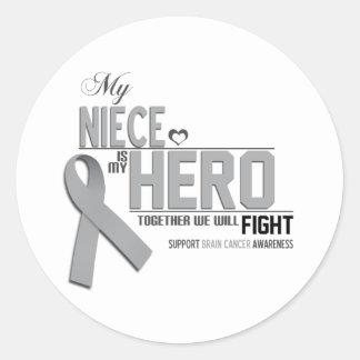 Brain Cancer Awareness:  niece Classic Round Sticker