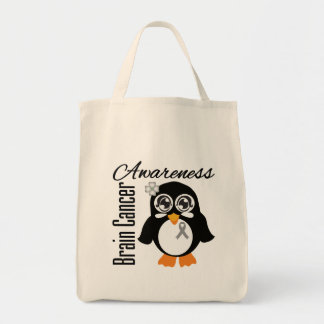 Brain Cancer Awareness Penguin Canvas Bags