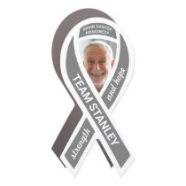 Brain Cancer Awareness Photo Gray Support Ribbon Car Magnet