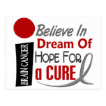 Brain Cancer BELIEVE DREAM HOPE Post Card