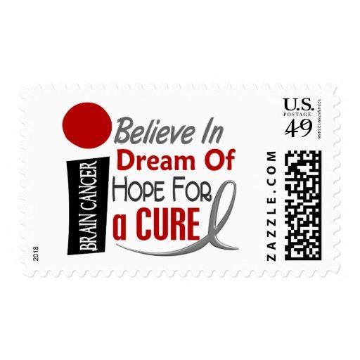 Brain Cancer BELIEVE DREAM HOPE Postage