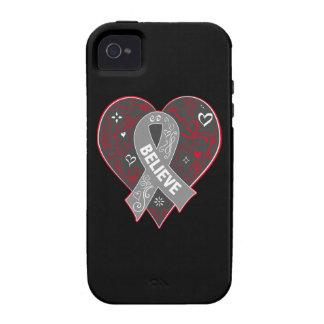 Brain Cancer Believe Ribbon Heart iPhone 4 Cover