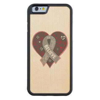 Brain Cancer Believe Ribbon Heart Carved® Maple iPhone 6 Bumper Case