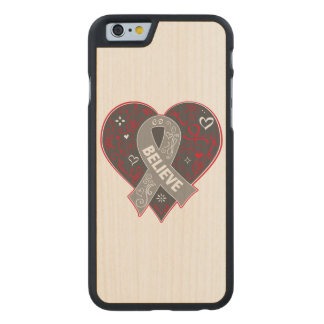 Brain Cancer Believe Ribbon Heart Carved® Maple iPhone 6 Case