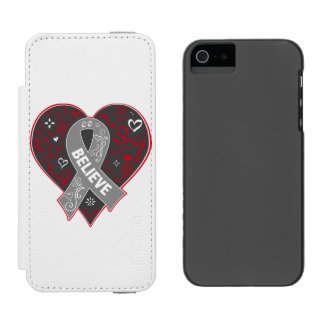 Brain Cancer Believe Ribbon Heart Incipio Watson™ iPhone 5 Wallet Case