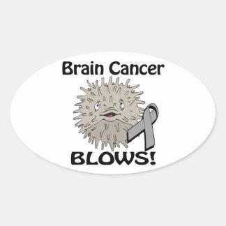 Brain Cancer Blows Awareness Design Oval Sticker
