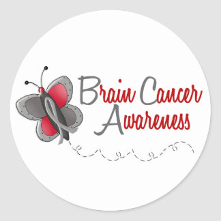 Brain Cancer Butterfly 2 Awareness Classic Round Sticker