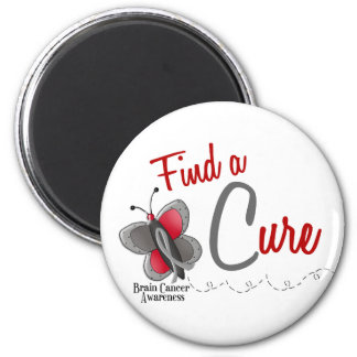 Brain Cancer Butterfly 2 Find A Cure 2 Inch Round Magnet