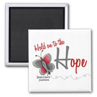 Brain Cancer Butterfly 2 Hold On To The Hope 2 Inch Square Magnet