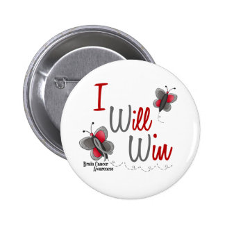 Brain Cancer Butterfly 2 I Will Win Button