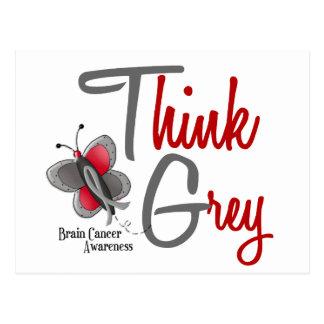 Brain Cancer Butterfly 2 Think Grey Postcard