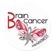Brain Cancer BUTTERFLY 3 Classic Round Sticker