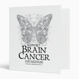 Brain Cancer Butterfly 3 Ring Binder