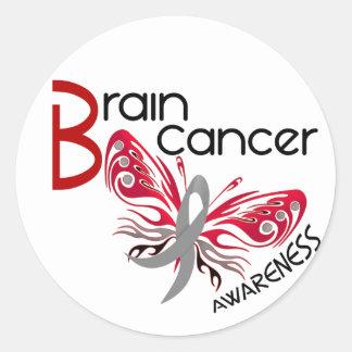 Brain Cancer BUTTERFLY 3 Round Stickers
